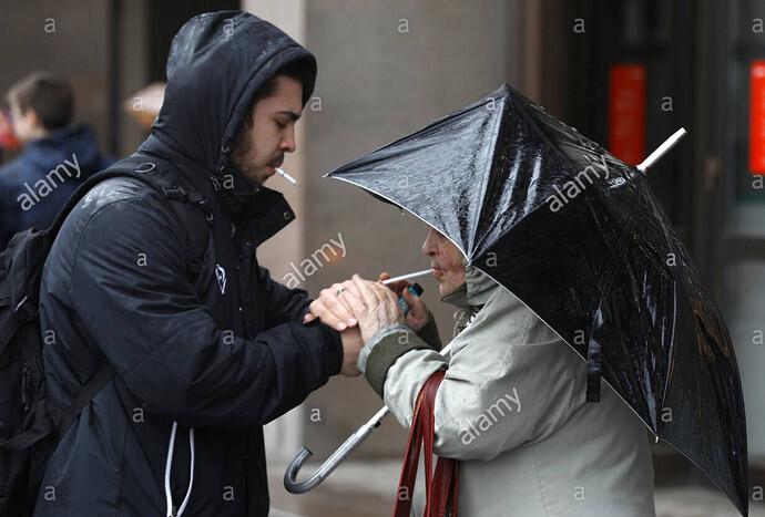 smokers in the rain